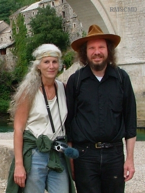 Colette Dowell in Bosnia with Robert Schoch Mostar investigating Bosnia Pyramid fraud