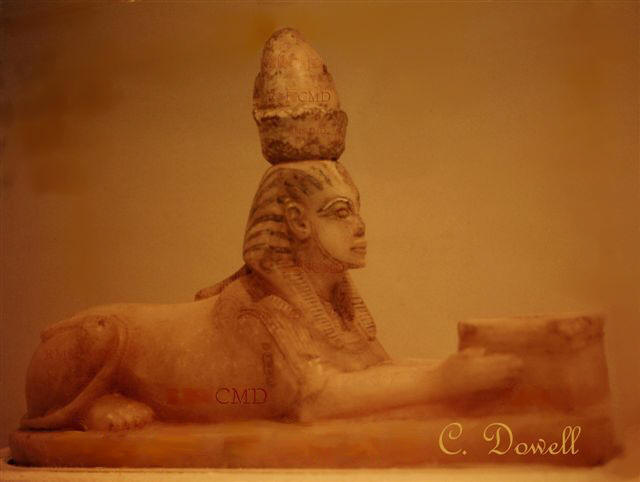 Image of Sphinx statue from alabaster ancient Egyptian art photograph by Colette Dowell Luxor Museum