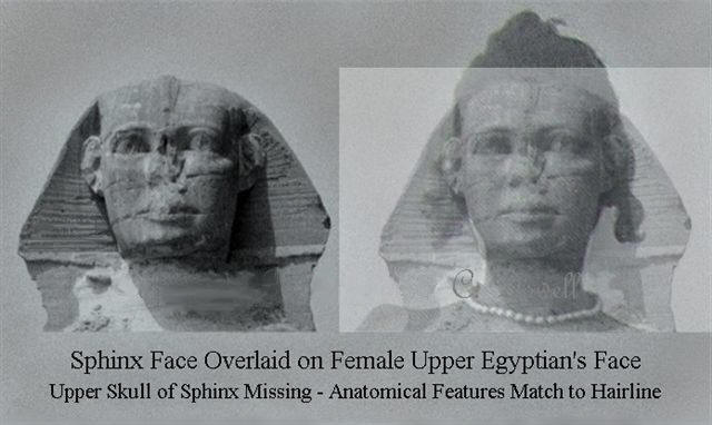 Image of Sphinx face straight image of Upper Egyptian female face straight